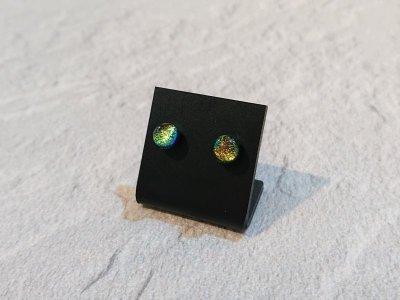 画像1: 【ハンドメイド・ガラスピアス】CLOVER GLASS ハンドメイド ダイクロガラスピアス サージカルステンレス メンズ レディス ペア売り 那須塩原メイド CGPE-GL01C