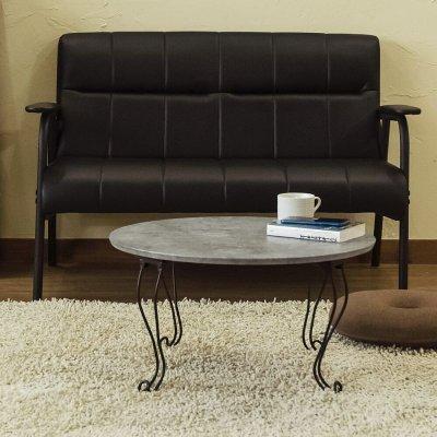 画像1: 【定価より50%OFF!】モダン折脚テーブル・丸型 60cm幅 MBK/MWH/ABR/NA 家具 テーブル CR-S6363526