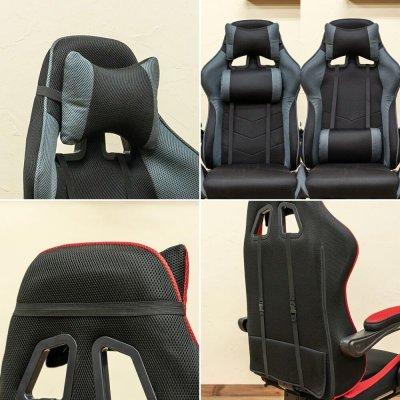 画像2: 【定価より50%OFF!】フルフラットメッシュレーシングチェア BK/BL/GR/RD 家具 椅子 チェア CR-S7168868